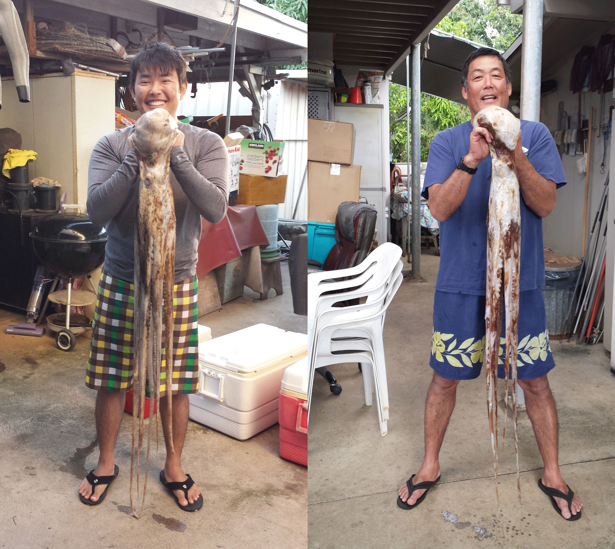 Family catching squid in Hawaii.