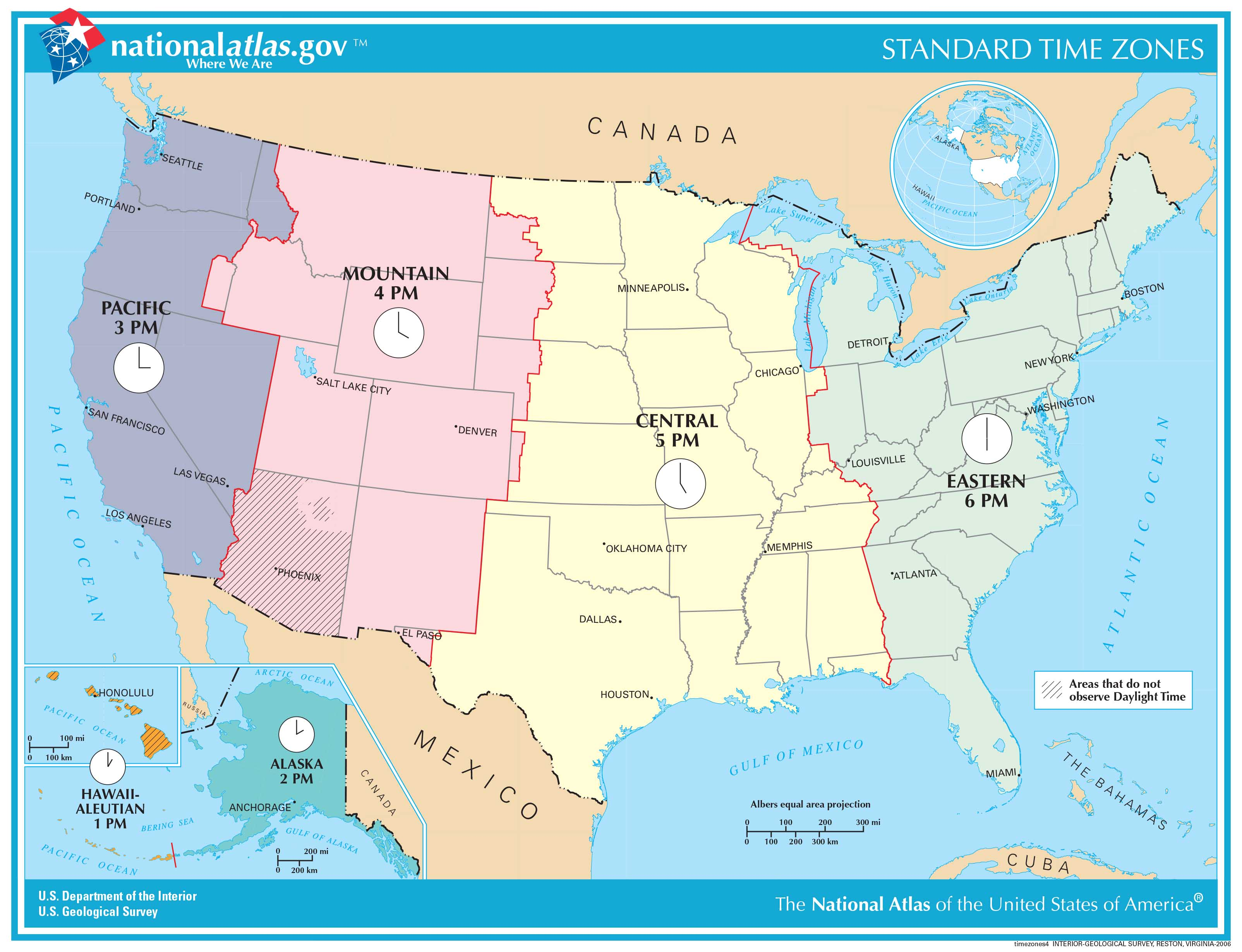Hawaii Time Zone Compared To The Rest Of The Us
